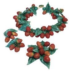 Vintage deLillo Runway Parure, Strawberry Necklace Set