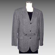 Vintage 1970s Mens Tweed Sport Coat Jacket Norfolk Style Black White Herringbone