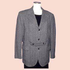 Vintage 1970s Mens Tweed Sport Coat Jacket Norfolk Style Black White Herringbone