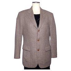 Vintage 1970s Menswear Tweed Sport Coat Jacket Brown Herringbone