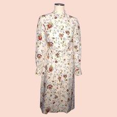 Vintage 1970s Silk Floral Print Dress K Lee Kim