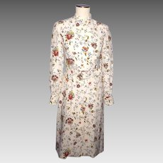 Vintage 1970s Silk Floral Print Dress K Lee Kim