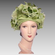 Vintage 1960s Leslie James Floral Bubble Toque Hat Green Silk Roses