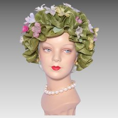 Vintage 1960s Coralie Bubble Toque Hat Green Straw Ribbons