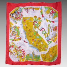 Vintage 1950s California Souvenir Silk Scarf Made in Japan