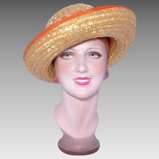 Vintage 1980s Eric Javits Hat Natural Woven Straw Orange Trim
