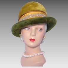 Vintage 1960s Mr Charles Hat Green and Gold Fur Felt
