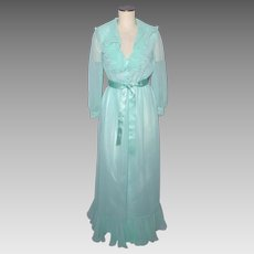 Vintage 1970s Victor Costa Ruffled Aqua Chiffon Evening Dress