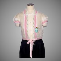 Vintage 1950s Moongleam Pajama Top Floral Print by Schranks Deadstock
