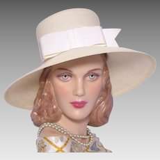 Vintage 1960s Christine Original Wide Brim Straw Hat