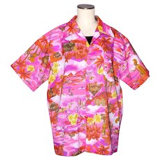 Vintage 1970s Tiki Print Shirt Bright Pink Made in Hawaii