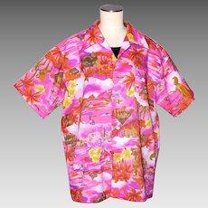 Vintage 1970s Tiki Print Shirt Bright Pink Made in Hawaii