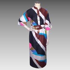 Vintage 1980s Catherine Ogust Forever Dress Bold Geometric Modern Print