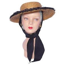 Vintage 1950s Straw Beach Sun Hat Black Raffia Trim and Scarf