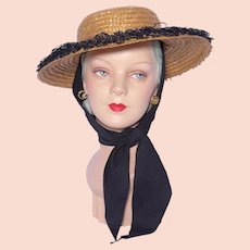Vintage 1950s Straw Beach Sun Hat Black Raffia Trim and Scarf