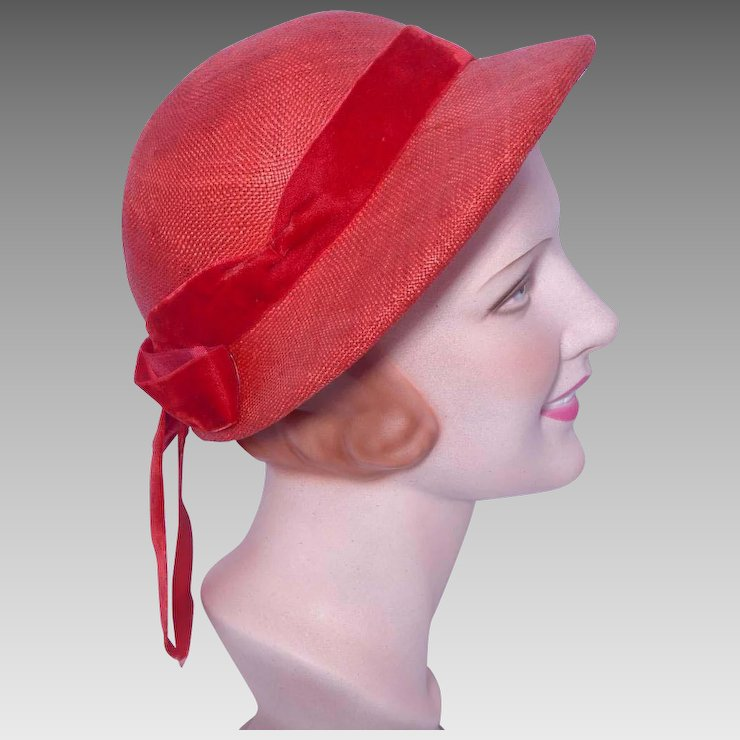 Vintage 1950s Red Straw Hat Bonnet Style   My Vintage Clothes Line ... 552e8cfda5c