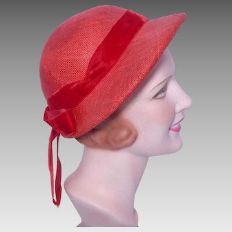 Vintage 1950s Red Straw Hat Bonnet Style