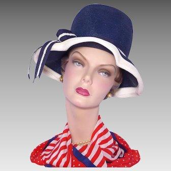 Vintage 1960s Henry Margu Navy Blue Straw Hat
