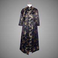 Vintage 1960s Chinese Style Dress and Coat Black and Gold Silk Brocade Cherry Blossoms