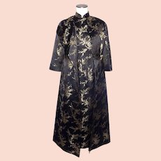 8134b4124257 Vintage 1960s Chinese Style Dress and Coat Black and Gold Silk Brocade  Cherry Blossoms