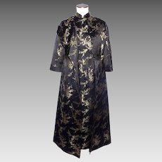 Vintage 1960s Chinese Style Dress and Coat Black and Gold Silk Brocade  Cherry Blossoms 1e4ee7579