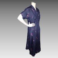 Vintage 1940s Floral Print Silk Dress Navy Blue