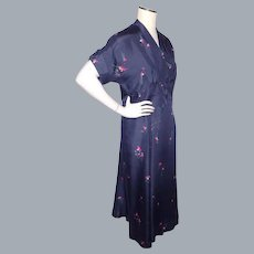 Vintage 1940s Floral Print Silk Dress Navy Blue