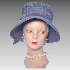 Vintage 1960s Cecile Hat Slate Blue Straw