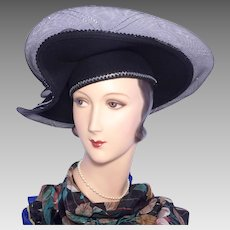 1990s Black Sculpted Wool Hat Silver Trim