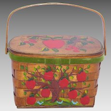 Vintage 1960s Wooden Handbag Purse Apples Signed Maria Originals