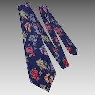 Nicole Miller Silk Necktie Tie Novelty Grape Print Dated 1995