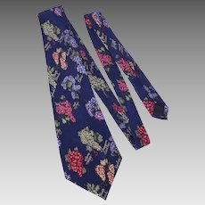 Nicole Miller Silk Necktie Tie Novelty Grape Print Dated 1995