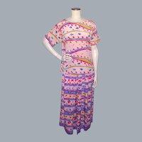 Vintage 1980s Oscar de la Renta Miss O Pink Silk Dress Abstract Print 2pc