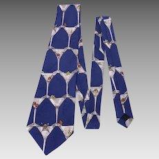 Nicole Miller Silk Tie Necktie Martinis Print 1995