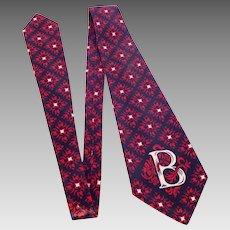 Vintage 1950s Beau Brummell Tie Necktie Initial B