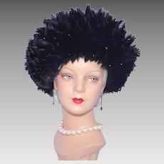 Vintage 1980s Albrizio Black Coque Feathers Hat