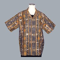 Vintage 1960s Tropicana Tiki Print Shirt Honolulu Hawaii