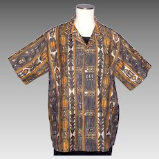 Vintage 1960s Tropicana Tiki Print Shirt Honolulu Hawaii