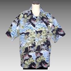 Harley Davidson Fat Boy Motorcycle Hawaiian Print Shirt 1990s