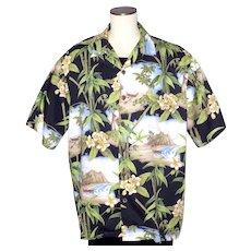 Hilo Hattie Hawaiian Aloha Print Shirt 1990s Made in Hawaii