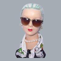 Vintage 1960s Revlon Browline Sunglasses Faux Mother of Pearl Trim