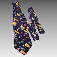 Nicole Miller Novelty Print Silk Necktie Tie Beer and Bars 1996