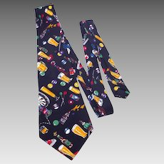 Nicole Miller Novelty Print Silk Necktie Tie Beer and Bars 1996