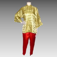 Vintage 1960s Dynasty Silk Pajama Loungewear Set Made in Hong Kong