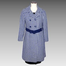 Vintage 1970s Lorendale Wool Coat Navy Blue and White Houndstooth