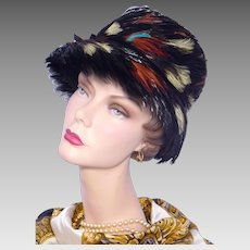 Vintage 1960s Gay Paree Black Feather Hat Flower Pot Style
