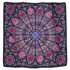 Past Times Rose Window Silk Scarf 1990s Made in Italy