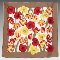 Vintage 1980s Floral Silk Scarf Poppies and Tulips