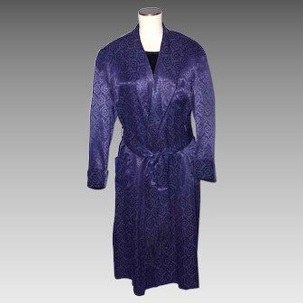 Vintage 1940s Rabhor Mens Robe Dressing Gown Navy Blue Jacquard