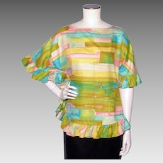 Vintage 1960s Aladdin Ruffled Blouse Rainbow Colors